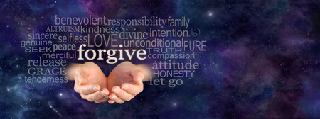 selfless: Full of Forgiveness - Cupped female hands emerging from panoramic deep space blue background with the word Forgive floating above surrounded by a relevant word cloud and copy space on right side