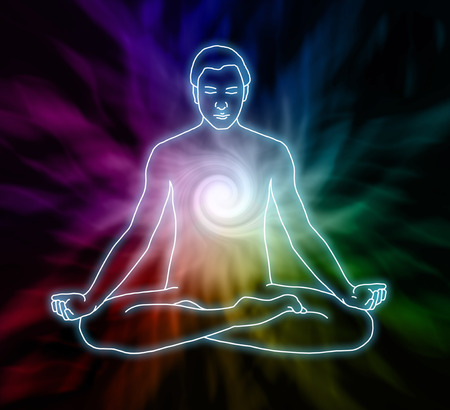 astral travel: Vortex Meditation - Silhouette  of a man in lotus meditation position with Seven Chakras on flowing rainbow energy background Stock Photo