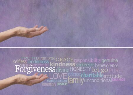 a righteous person: Forgiveness Word Cloud Banner - Female hand outstretched with palm up and the word Forgiveness hovering above surrounded by a relevant word cloud on a lilac colored stone effect background Stock Photo