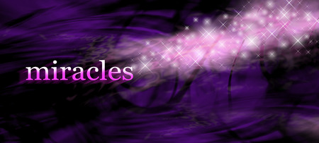 sparkles: Miracles background - wide purple swirling lines background with the word MIRACLES on left side and glittering sparkles merging with the word Stock Photo