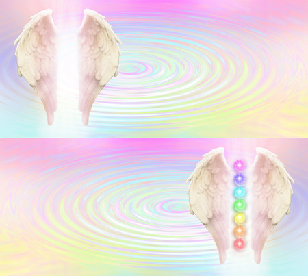 Reiki Angel Wings and Seven Chakras website header -  Angel wings and seven chakras on pastel rainbow colored rippling water pool background with light between wings and plenty of copy space