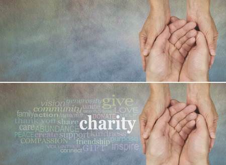 needy: Please give generously - two identical banners one with a Charity word cloud, the other without, on a rustic light colored stone effect background with a woman holding a mans hands in a needy gesture Stock Photo