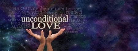 universal love: Amor Incondicional Nube de la palabra - Manos femeninas que se eleva hacia las palabras 'amor incondicional' rodeado de una nube de palabras relevantes en un azul estrellado de fondo del espacio profundo oscuro