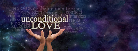 spiritual bless: Unconditional Love Word Cloud - Female hands reaching up towards  the words Unconditional Love surrounded by a relevant word cloud on a dark blue starry deep space background