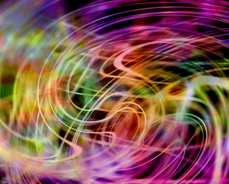 sway: Hypnotic warm swirling laser-like lines -  Background of flowing vibrant laser-like multi-colored swirling random lines in warm pink, green and yellow on a dark background