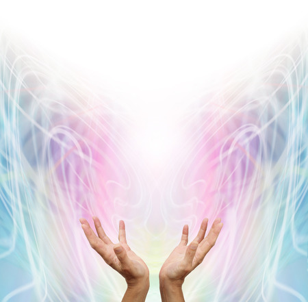 prana: Energy Light worker - Female energy worker with hands outstretched and open upwards sensing white healing energy on pastel rainbow colored intricate  swirling  energy formation background