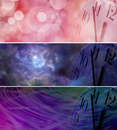 12 oclock: Its Nearly New Year - Three different wide banners each with a partial clock face showing five minutes to midnight on right side with copy space on left