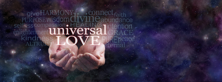Sharing Universal Love - Man's cupped hands emerging from dark blue deep space background surrounded by a Universal Love word cloud with copy space on right hand side Stock Photo