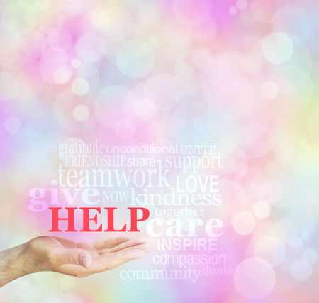 the help: Fund Raising Request for Help word cloud background - male hand with open palm and HELP floating above surrounded by a relevant word cloud on a bokeh background Stock Photo