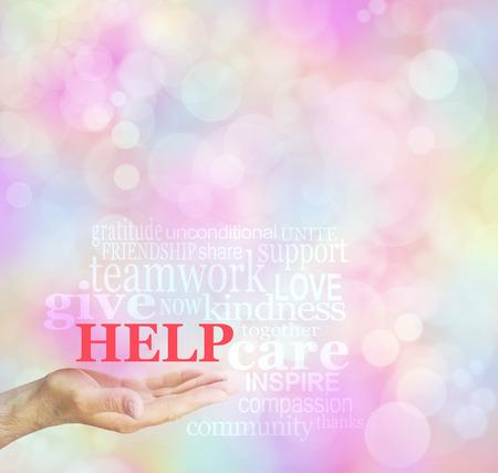personas ayudando: Recaudación de Fondos Solicitud para el fondo de ayuda nube de palabras - mano masculina con la palma abierta y AYUDA flotando por encima rodeado por una nube de palabras relevantes en un fondo bokeh Foto de archivo