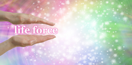 prana: Your Life Force is in Your Hands - Female parallel hands with the words life force, floating between surrounded by a sparkles on a pastel rainbow colored  background and plenty of copy space