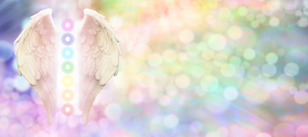 Reiki Angel Wings and Seven Chakras website header -  Angel wings and seven chakras on pastel rainbow colored bokeh  background with copy space on right hand side