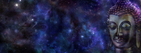 Buddha on deep space background  website header -  Wide deep blue night sky with a cropped head of Buddha on right hand side and plenty of copy space on left