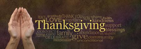 dando la mano: Acción de Gracias nube de la palabra Sitio Web Banner Foto de archivo