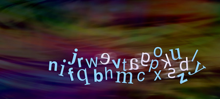 visual perception: Dyslexic Alphabet with reversed letters - wide dark website header with a jumbled complete alphabet showing six moving characters reversed depicting dyslexia with plenty of copy space above