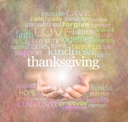 hands cupped: Thanksgiving Word Cloud  - Female cupped hands  with a white Thanksgiving word floating above surrounded by a relevant word cloud on a light stone effect background