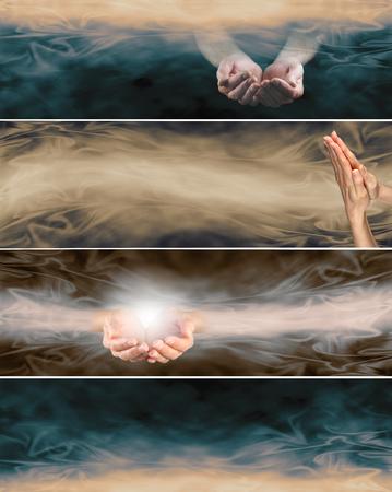 4 の異なるをホリスティックな癒しのウェブサイト バナー - 2 つのカップの手、祈りの手、流れるエネルギー形成とレトロなセピア色の colorways で 1