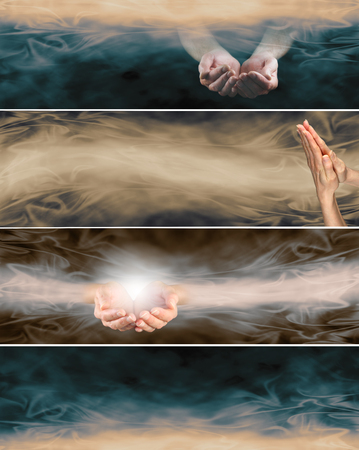 4 different holistic healing website banners - two banners with cupped hands, one with praying hands, one plain in retro sepia  colorways with flowing energy formations