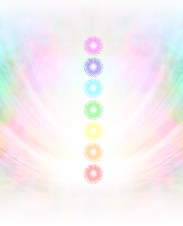 illuminations: Seven Chakras in subtle energy field background - Symmetrical pastel colored wispy misty background with vertical row of seven chakras placed in center