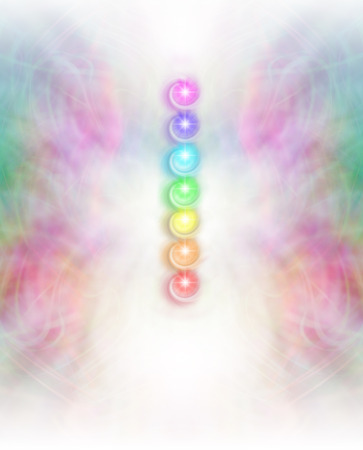kundalini: Seven Chakras in subtle energy field background - Symmetrical intricate pastel colored lace pattern  background with vertical row of seven chakra vortexes lying in white energy central column
