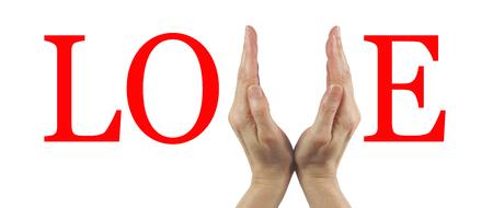 haciendo el amor: Hacer el amor con las manos - un par de manos femeninas que forman la V en el amor en un fondo blanco