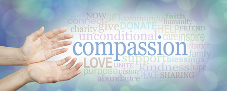 dignity: Compassion banner -  wide banner with a womans hands in an open needy position with the word COMPASSION to the right surrounded by a relevant word cloud on a soft blue and white bokeh background