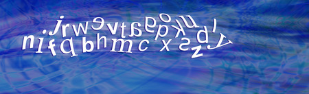 reversed: Dyslexia Alphabet with reversed letters - wide blue header with a jumbled moving complete alphabet showing six characters reversed depicting dyslexia with plenty of copy space beneath