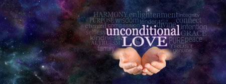 Unconditional Love Word Cloud - Female hands in cupped position with the words 'Unconditional Love' floating above, surrounded by a relevant word cloud on a dark blue starry deep space background