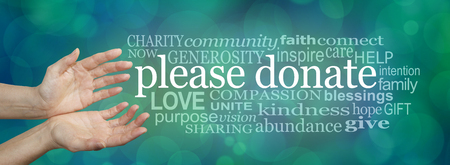 needy: Please donate fund raising word cloud - wide banner with a womans hands in an open cupped needy gesture with a word cloud on the right surrounding the words PLEASE DONATE on a blue bokeh background