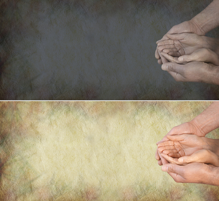 needy: Bring light into peoples lives - one light and one dark banner with a womans hands gently cupped within a mans hands in a needy position on a grunge stone effect background and plenty of copy space
