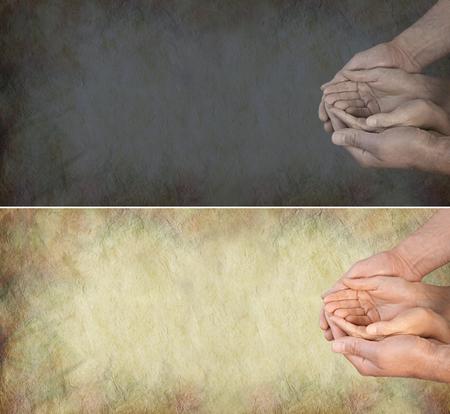 altruismo: Devuelve la luz a vida de las personas - una luz y una bandera oscuro con las manos ahuecadas de una mujer con suavidad dentro de manos de un hombre en una posición necesitados en un fondo de efecto de piedra del grunge y un montón de espacio de la copia