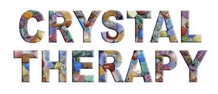 mineralogy: Crystal Tumbled Stones themed CRYSTAL THERAPY banner - polished tumbled stones theme alphabet used to create the words CRYSTAL THERAPY in capital letters on a white background