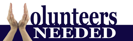 Vrijwilligers nodig Campaign Banner - Vrouwelijke Handen maken van een V voor het woord Vrijwilligers in donker blauw op een witte achtergrond, met het woord die nodig zijn in het wit onder, omgekeerd uit van donkerblauw