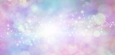 feminine background: Pink and blue starry glitter feminine toned bokeh background banner - Wide pink and blue  sparkling glittery star speckled background with a whoosh of stars moving through the middle Stock Photo