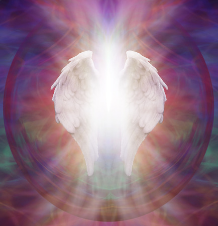 energy healing: Angelic Guardian - Isolated symbolic white Angel wings with a burst of white light between on an intricate ethereal sacred multicolored pattern background