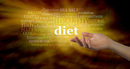 relevant: Diet word cloud - Female hand outstretched palm up with the word DIET floating above surrounded by a relevant word cloud on a gold light burst background depicting golden information being shared Stock Photo