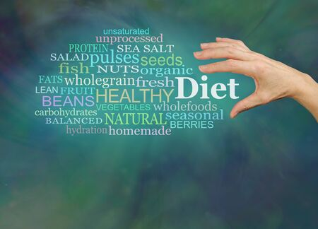 healthier: Choosing a healthier diet - female hand reaching to grab the word DIET, surrounded by a diet word cloud on a green background with plenty of copy space below Stock Photo