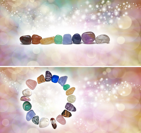 crystal therapy: Chakra Crystal Headers x 2 -  Two different headers with chakra colored tumbled semi precious gemstones on a bokeh sparkling ethereal pastel colored background