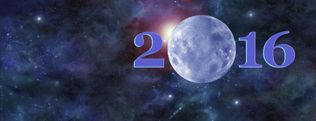 3rd ancient: Once in a Blue Moon 2016 Website Header - Deep space banner with a beautiful blue moon making up the zero in 2016 and plenty of copy space on left side Stock Photo