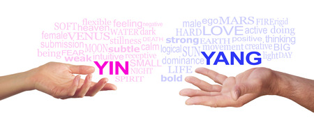 open palm: Together we are Stronger -  Female hand with open palm gesturing to a pink YIN word cloud, opposite a male open palm with a blue YANG word cloud floating above on a white background