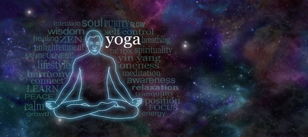 healing chi spiritual: Yoga Meditation Website Header - Wide deep space night sky banner with a glowing male silhouette outline in lotus position on the left surrounded by a word cloud and plenty of copy space on right Stock Photo