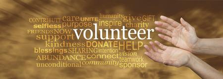 altruism: Solicitud de Voluntarios Nube de la palabra - gran pancarta con las manos de una mujer en una posición abierta necesitados con la palabra VOLUNTARIOS rodeado por una nube de palabras relevantes en un fondo que fluye suave y dorada Foto de archivo