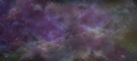 galactic: Heavenly Night Sky background -  Deep space wide multicolored banner showing cloud formation, planets, stars and ethereal coloring Stock Photo