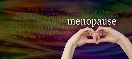 progesterone: Take a look at the signs and symptoms of menopause -  female hands making a pair of eyes with the word Menopause above, surrounded by a relevant word cloud on a wide dark background