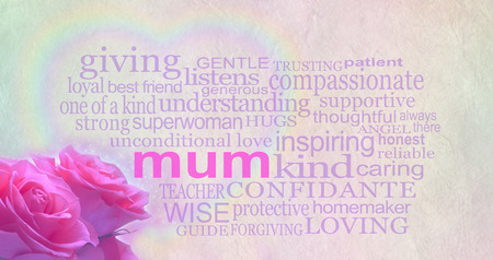 mothering: Mothers day background banner - Background with light colored rustic parchment effect and loving words surrounding the main word mum with a rainbow heart behind and pink roses in the corner