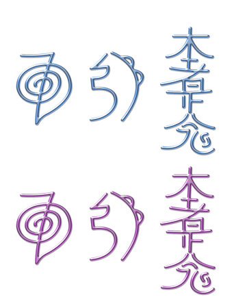 universal: Reiki Healing Energy Symbols - a shiny pink and a shiny blue set of the three Japanese Reiki Symbols used in attunements