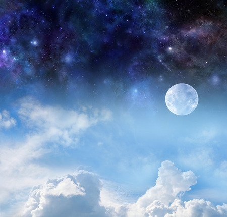 deep blue: Moon by Night and Day - the pale moon with blue sky and fluffy clouds below and deep space night sky above with plenty of copy space Stock Photo