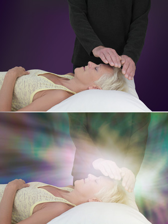 channeling: Healing session showing ethereal  energy field - two images of male healer with hands hovering around female patients forehead, channeling healing, one showing vibrant energy field, one without Stock Photo