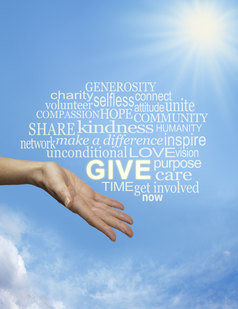 Bring sunshine into the lives of others by giving - Female hand gesturing to give with a relevant word cloud floating above on a sunny blue sky background with a big sunburst and plenty of copy space