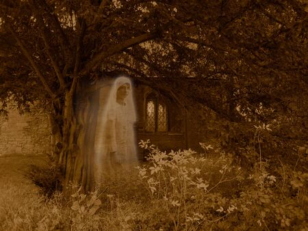 deceased: Ghostly Victorian  Graveyard apparition -  Sepia colored scene of church, tree and plants, with a semi-transparent ghostly veiled female appearing to be floating across